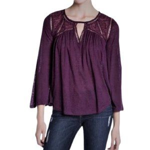Lucky Brand  Lace Boho Peasant Top Bell Sleeves